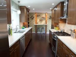 interior fancy galley kitchen decor with unique decorative