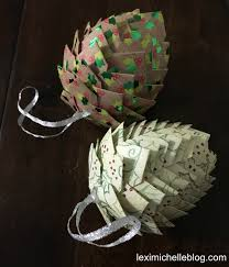 diy paper pine cone ornaments