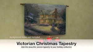 thomas kinkade lighted pictures thomas kinkade lighted victorian christmas tapestry youtube