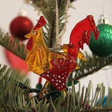 fused glass ornament sun catcher rooster colibri glass