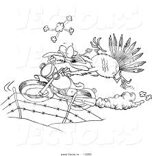 vector of a cartoon turkey bird escaping on a motorcycle