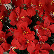 Silk Amaryllis Flowers - 96 silk amaryllis red efavormart
