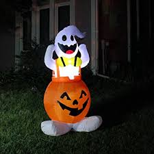 Halloween Outdoor Yard Decorations by Amazon Com Joiedomi Halloween Blow Up Inflatable Ghost In Pumpkin