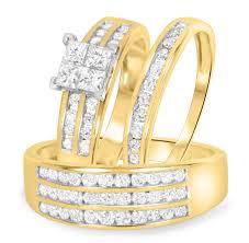 yellow gold wedding ring sets 1 5 8 carat t w trio matching wedding ring set 14k yellow