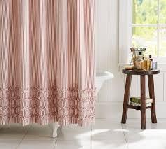 Ruffled Pink Curtains Ticking Stripe Ruffle Shower Curtain Pottery Barn