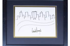 donald trump u0027s doodle of the nyc skyline sold for nearly 30 000
