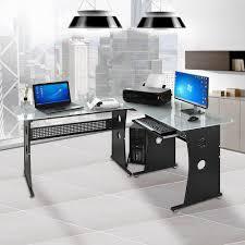 Corner Computer Desk L Shaped Desk Tempered Frosted Glass Corner Computer Pc Laptop