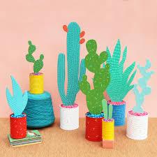 desk cactus wood cardboard cactus plants great diy decor idea https