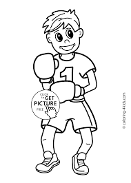 boxing sport coloring page for kids printable free coloing