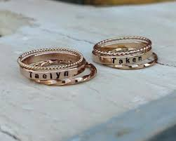 stackable personalized rings custom s stackable gold gold personalized ring set