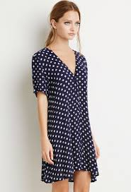 forever 21 button down floral dress in blue lyst