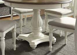 Two Tone Pedestal Dining Table Cumberland Creek Pedestal Table 7 Piece Dining Set In Two Tone