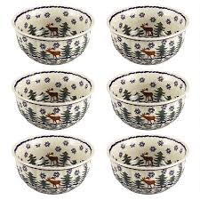 pottery deer pine cereal bowls set of 6 tree