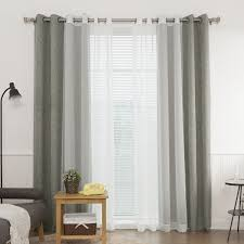 Linen Curtains With Grommets Aurora Home Heathered Linen Look Blackout And Muji Sheer 4 Piece