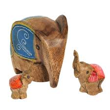 set of 3 winter elephant family carved wood hand painted figurine