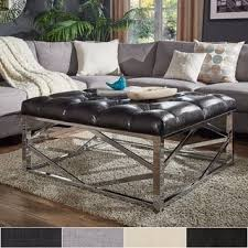 Square Ottoman Coffee Table with Solene Square Base Ottoman Coffee Table Chrome By Inspire Q Bold
