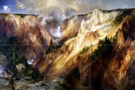 grand canyon yellowstone t moran tile mural wall backsplash art