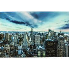 Esszimmer New York Bild Glas New York Sunset 160x120cm Kare Design