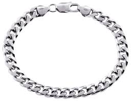 solid sterling silver mens bracelet images Sterling silver miami cuban link mens bracelet 7 mm 8 inch jpg