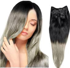 ombre hair extensions clip in 12inch 26inch 120g 2pcs lot indian ombre grey hair clip