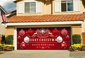 Garage Door Murals For Sale Amazon Com Christmas Red And White Ornaments On Red Holiday