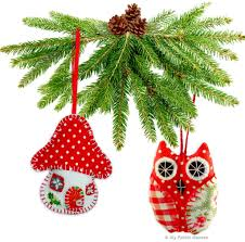 2 x printed sewing patterns handmade christmas decorations owl
