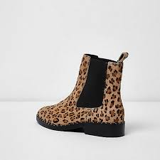 womens boots river island river island beige leather leopard chelsea boots 704705