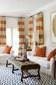 orange and white horizontal striped curtains lovely living rooms