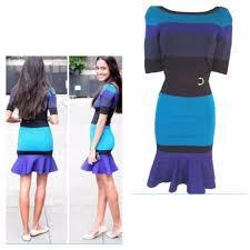 karen millen graphic stripe knit dress blue