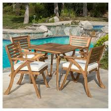 Acacia Wood Outdoor Furniture by Hermosa 5pc Acacia Wood Patio Dining Set With Cushions Teak