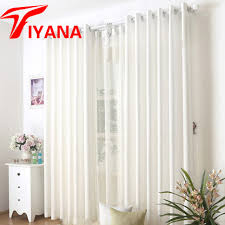 White Window Curtains High Quality Solid Linen Curtain Blue White Color Semi Shade