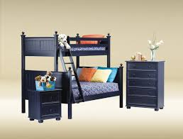 Loft Bed Set Dark Blue Wooden Loft Bed With Ladder And Bedding Set Completed By