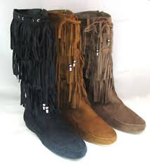 womens suede tassel fringe moccasin boots flat layer mid calf