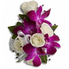 orchid corsage purple orchid and white roses corsage