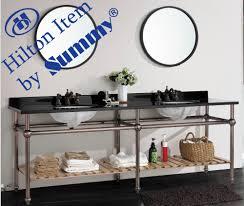 Bathroom Furniture Set Sale Hotel Design Double Wash Basin Stainless Steel Frame