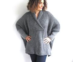 plus size knitted sweater grey poncho tunic dress by afra