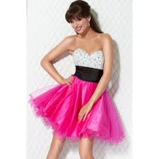white and fuchsia a line strapless sweetheart low back short mini