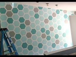 wall pattern how to paint a hexagon shaped honeycomb accent wall youtube