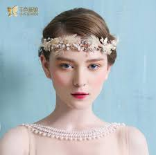 gorgeous pink feather hairband bridal forehead