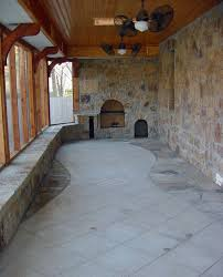 kitchen string lights red tile flooring patio mediterranean with outdoor kitchen design