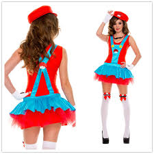 Mario Womens Halloween Costume Women Fashion 2014 Girls Ladies Super Mario Luigi Cosplay