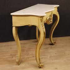 Italian Console Table Italian Console Table In Lacquered Gilt Wood W Marble Aptdeco