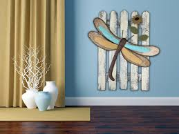 wall art dragonfly reclaimed fence home decor metal sunflower