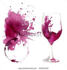 wine glass painted watercolors on white stock illustration