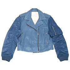 blue motorcycle jacket sandro blue varsity sleeve leather motorcycle jacket size 2 xs