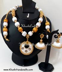 necklace set white images Buy white and gold silk thread bridal necklace set online jpg