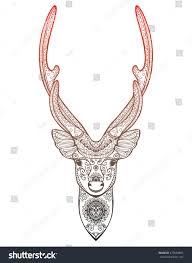 stylized portrait deer forest animals stock vector 479694805