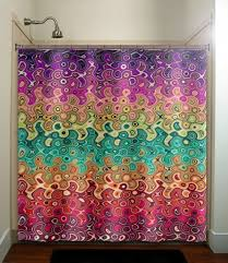 Curtain Draping Ideas Elegant Colorful Printed Shower Curtain Draping Ideas Trends4us