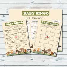 woodland baby shower bingo cards printable bingo cards baby