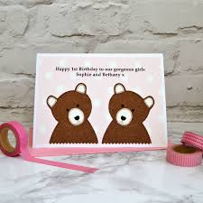 girls personalised twins birthday card by jenny arnott cards